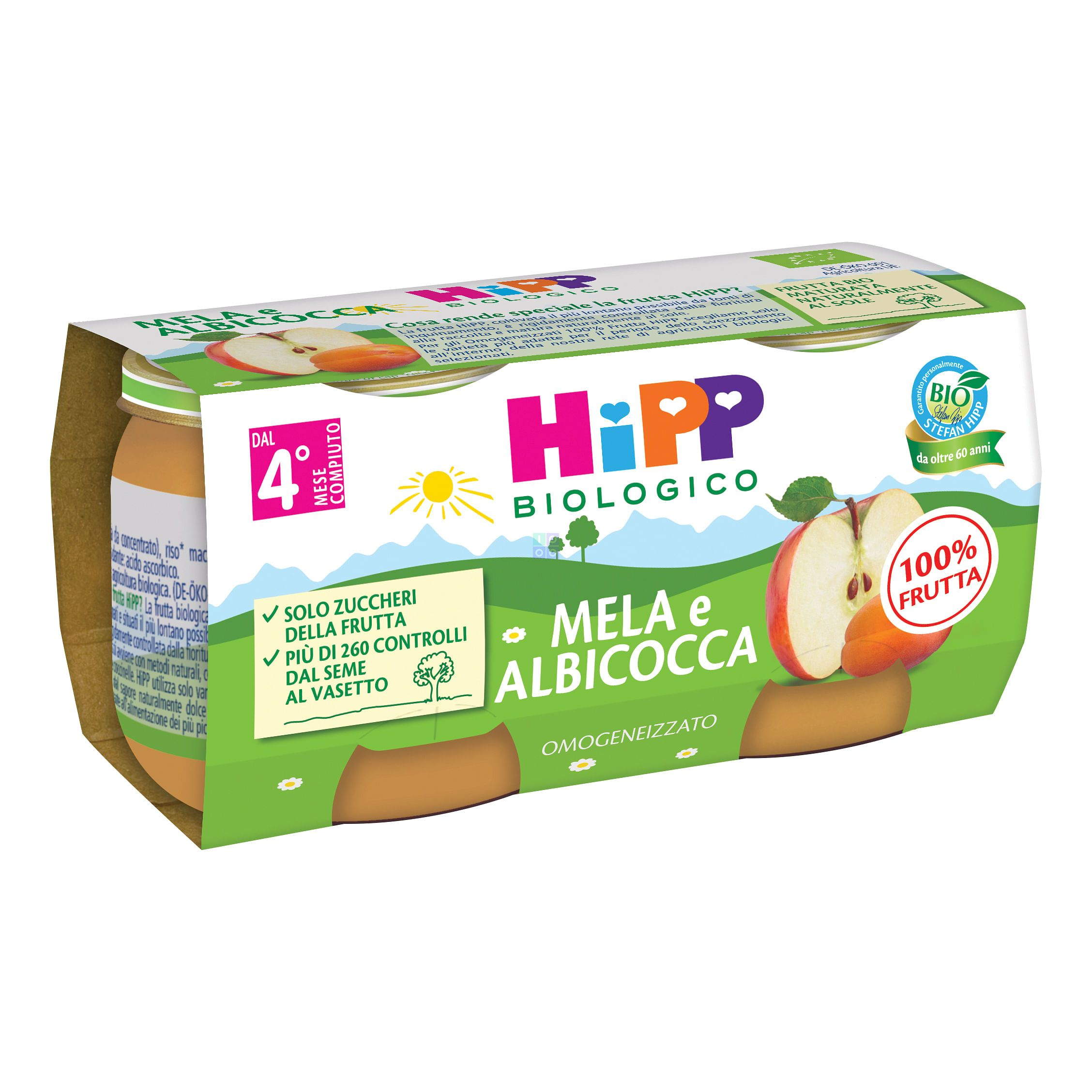HIPP OMOGENIZZATO ALBICOCCA/MELA 2X80G